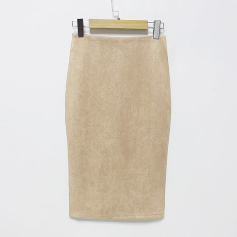Suede knee length pencil skirt with slit ~ 10 colors!!!!!
