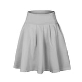 Stretch high waist flared pleated skirt ~ 7 colors!