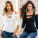 Loose V-neck long sleeve cold shoulder top
