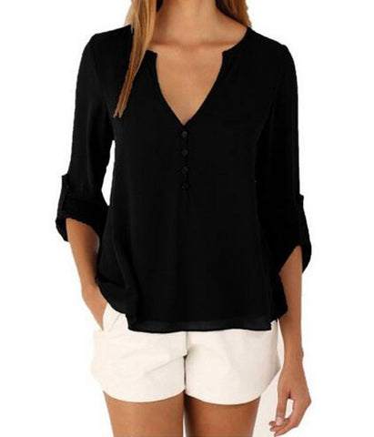 V-neck button collar & back long sleeved top ~ Plus size available