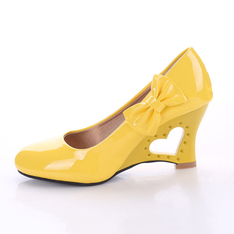 Patent leather heart shaped heels with side bow ~ 4 colors!