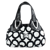 Leather hobo bag tote with silver buckles