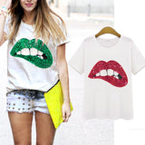 Printed red or green sequence lips T-shirts