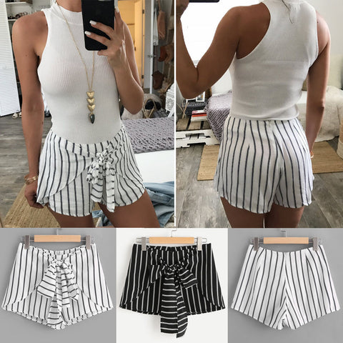 Striped tie front stylish shorts