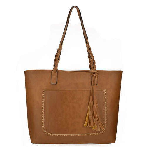 Hippie braided leather tote bag  with interior pockets