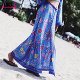 Boho maxi skirt with lovebird print