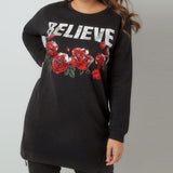 "Plus size printed T-shirt with ""BELIEVE"""