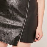Sexy black faux leather skirt above the knee ~ Plus size