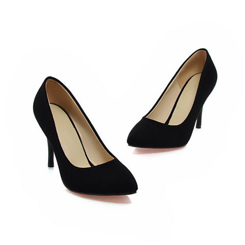 Classy pointed toe classic suede heels ~ 4 colors!