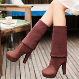 Suede platform over the knee boots thick high heels