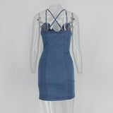 Short denim dress with button front & open crisscross back