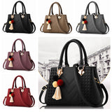 Spacious supple leather handbag with cute charms & detachable handle ~ 5 colors!