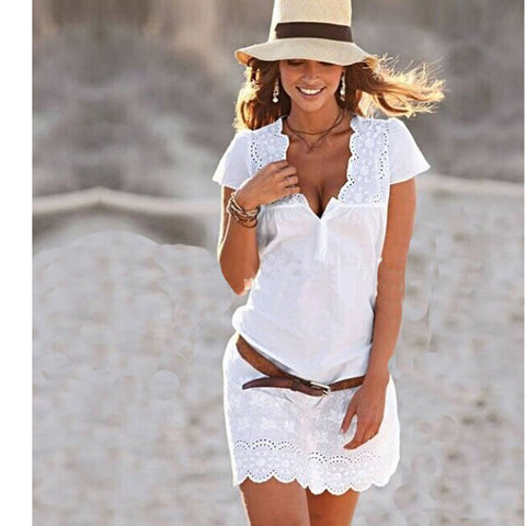 Cotton beachy summer dress with lace accents