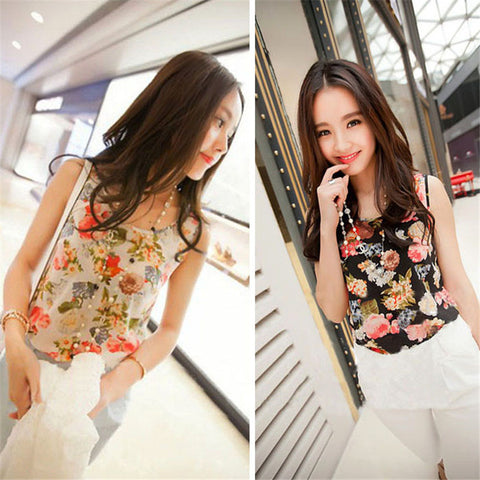 Sleeveless O-neck floral tank top