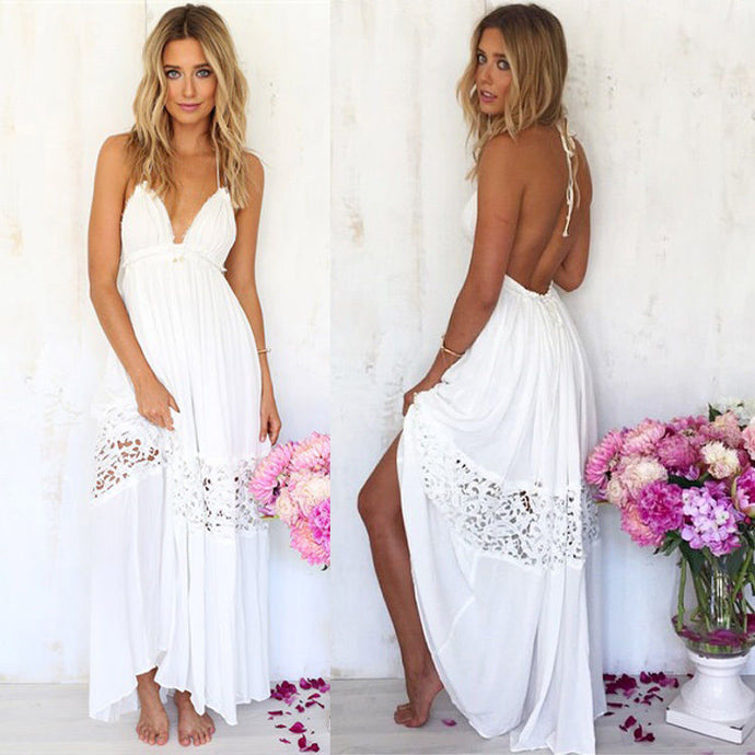 Sexy backless halter sundress with lacy touch