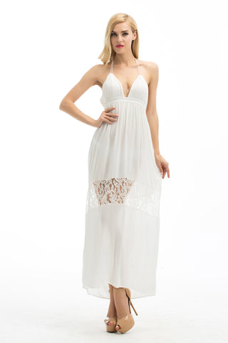 Backless halter sundress with lacy touch