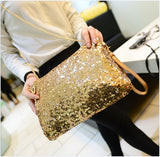 Sequins medium size clutch with removable chain strap