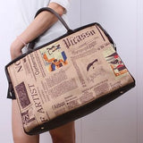 Paris style canvas newspaper printed double leather handle large tote