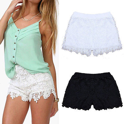 Adorable elastic waist lace shorts