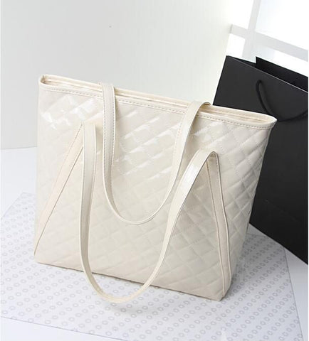 Large quilted patent leather tote bag with double shoulder straps