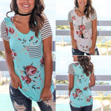 Loose patchwork T-shirt floral print with striped pocket ~ Plus size available