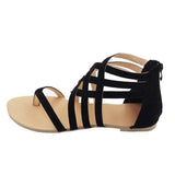 Gladiator sandals with zipper back