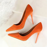 Dressy suede easy slip on stiletto heels ~ 9 colors!!