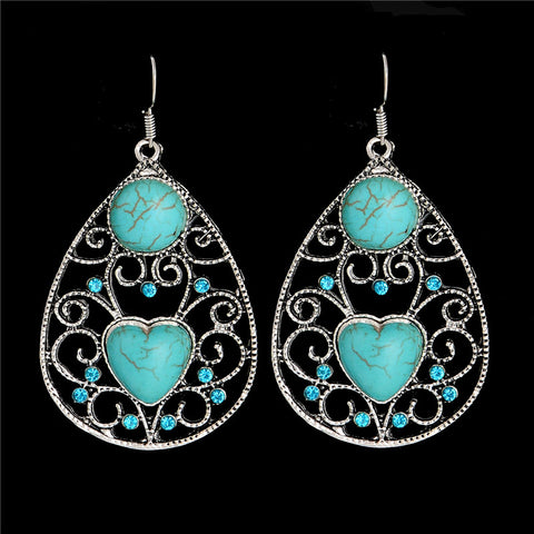 Turquoise and filigree silver drop earrings ~ 6 choices!!