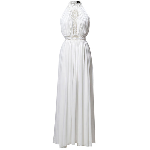 Elegant sleeveless Bohemian white halter lace fit & flare maxi dress