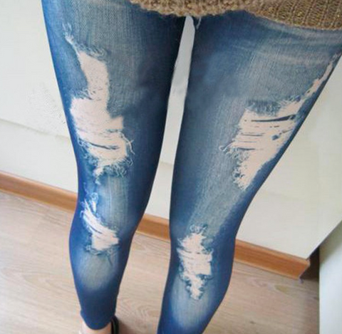 Stylish leggings with distressed denim look pants