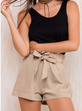 Summer casual shorts with self tie front & elastic waist