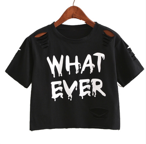 "Crop top ""Whatever"" with distressed holes"