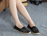 Women canvas loafers with lace design