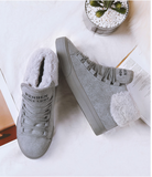 Warming boots suede casual fur cuff ankle boots