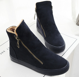 Plush ankle boots with side zippers ~ 4 colors