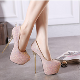 Platform stiletto heels with sequence design ~ 5 colors!!