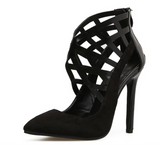 Criss crossed stiletto heels with zipper backs
