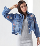 Floral embroidered denim jacket turn-down collar