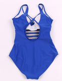 Sexy one piece V-neck deep blue swimsuit  ~ Plus size available