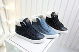 Comfortable denim sneaker boots with plush lining
