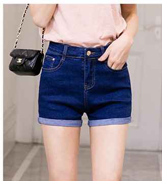 Rolled bottom denim jean shorts with button fly