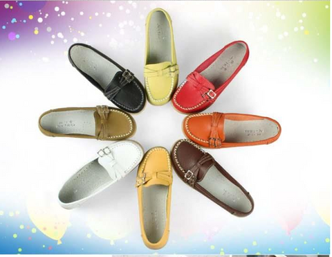 Split leather boat shoes with double buckles ~ 8 colors!!!