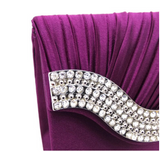 Satin & rhinestone pleated clutch with chain strap ~ 7 colors!!!