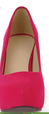 Chunky suede dressy high heels with rounded toe ~ 5 colors!!