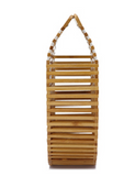 Handmade natural bamboo with top handle hollowed out purse