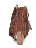 Square heel suede ankle boots with fringe