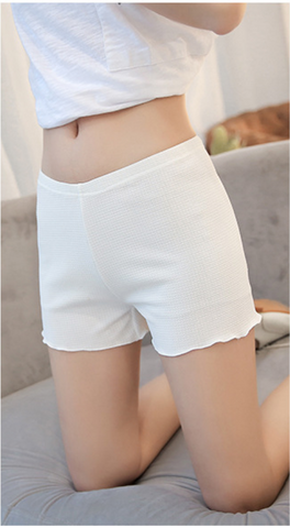 Solid ruffled hem shorts with elastic waistband