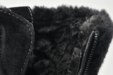 Suede fur lined ankle boots with fur cuff & side zipper