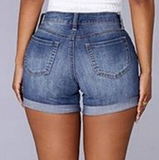 Distressed button fly high waist denim shorts with rolled hem