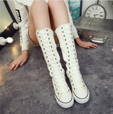 Sneaker boots lace up and zipper side high top canvas ~ 3 colors!
